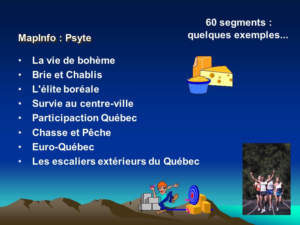 MapInfo : Psyte 60 segments : quelques exemples... La vie de bohème. Brie et Chablis. L élite boréale.