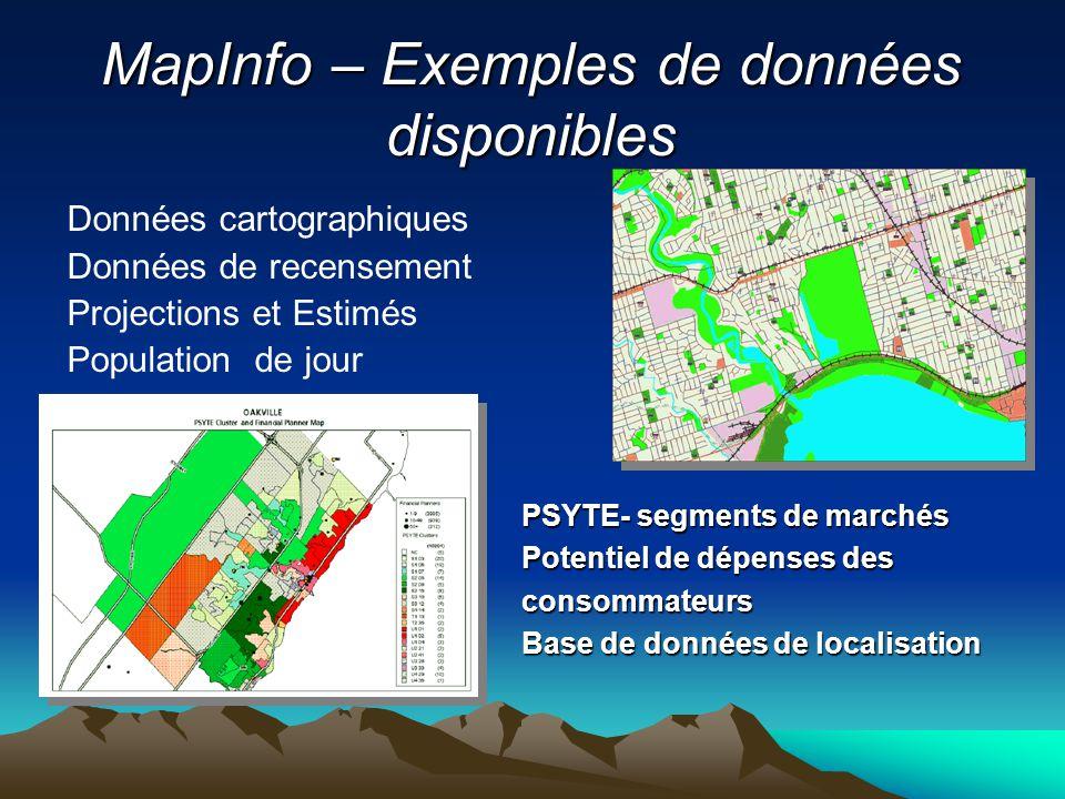 MapInfo – Exemples de données disponibles