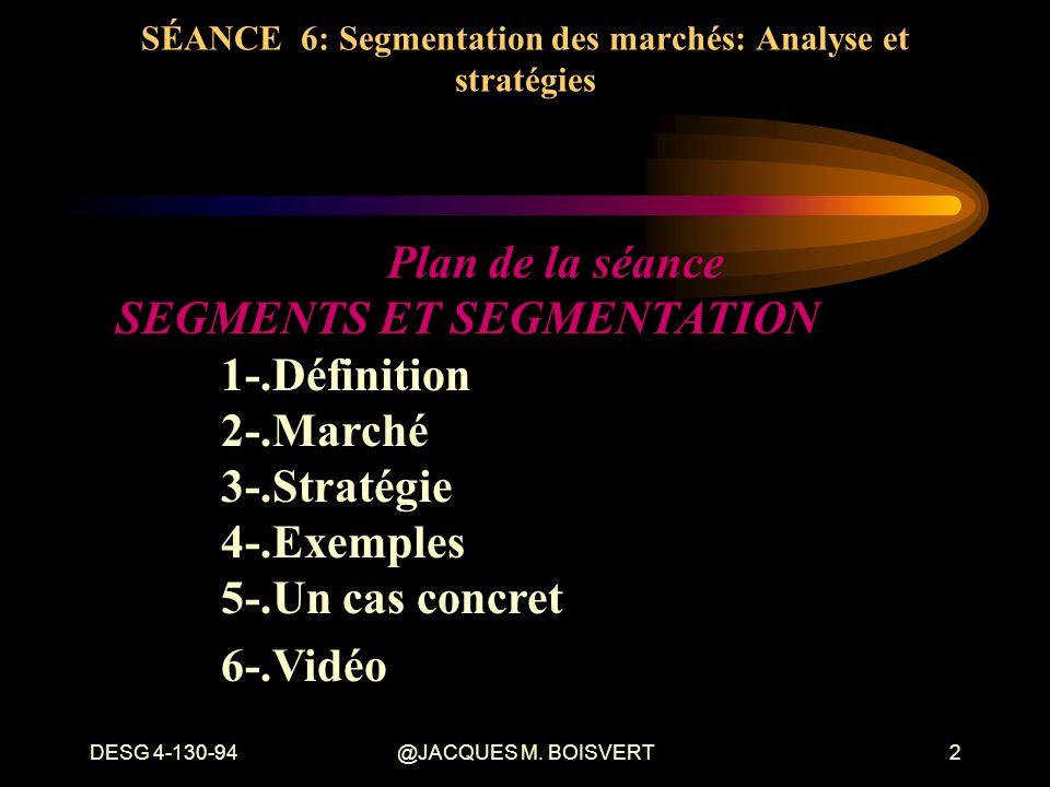 SÉANCE 6: Segmentation des marchés: Analyse et stratégies