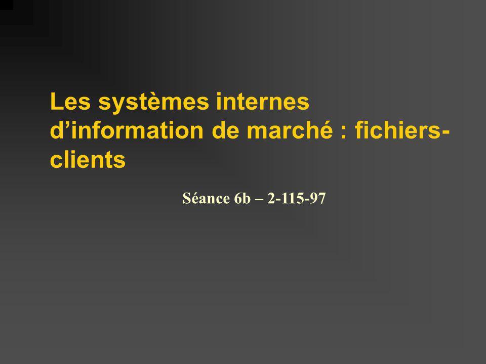 Les systèmes internes d'information de marché : fichiers-clients