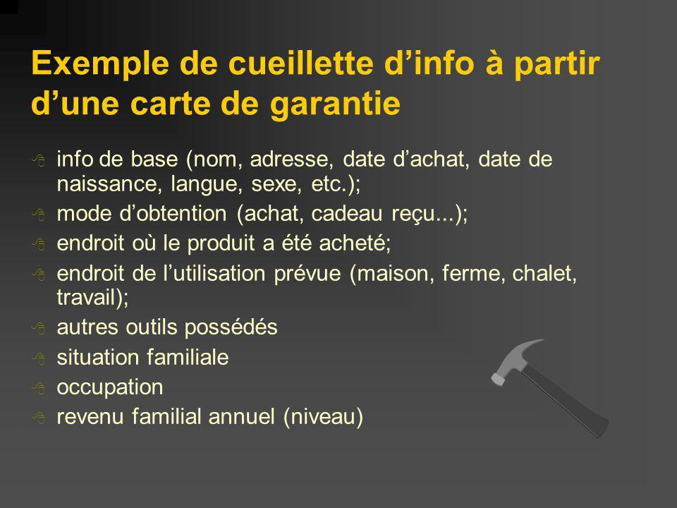 Exemple de cueillette d'info à partir d'une carte de garantie