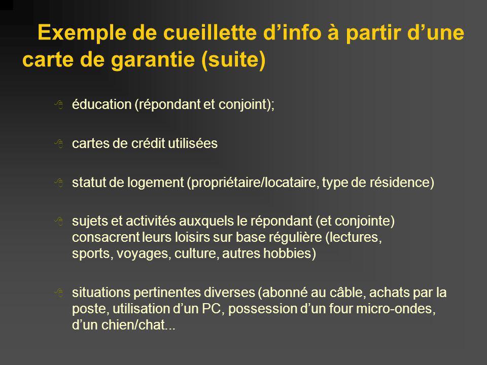 Exemple de cueillette d'info à partir d'une carte de garantie (suite)