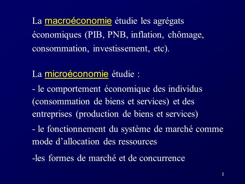 La macroéconomie étudie les agrégats économiques (PIB, PNB, inflation, chômage, consommation, investissement, etc).