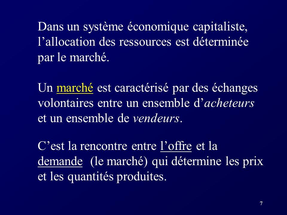 Dans un système économique capitaliste, l'allocation des ressources est déterminée par le marché.