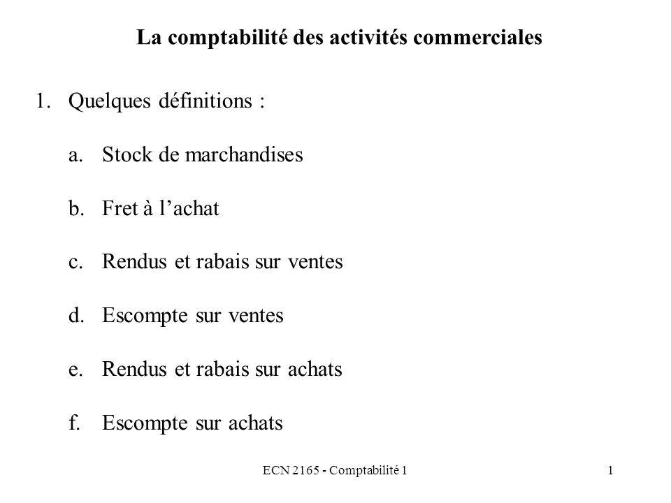 La comptabilité des activités commerciales