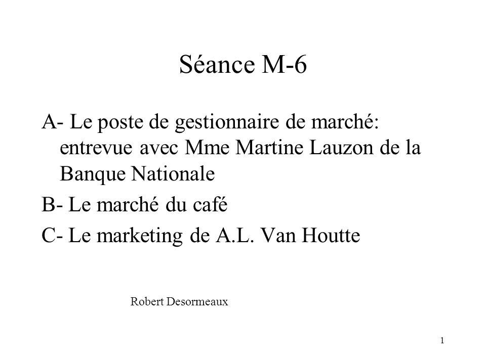 Séance M-6 A- Le poste de gestionnaire de marché: entrevue avec Mme Martine Lauzon de la Banque Nationale.