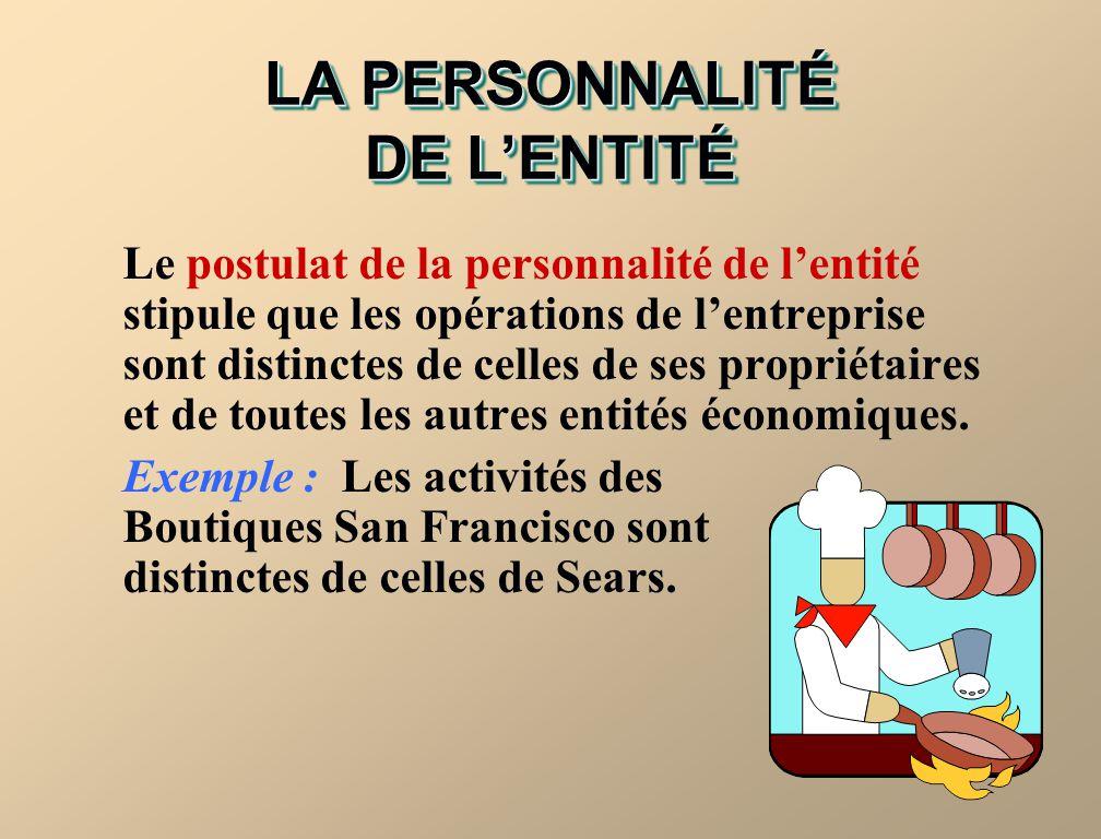 LA PERSONNALITÉ DE L'ENTITÉ