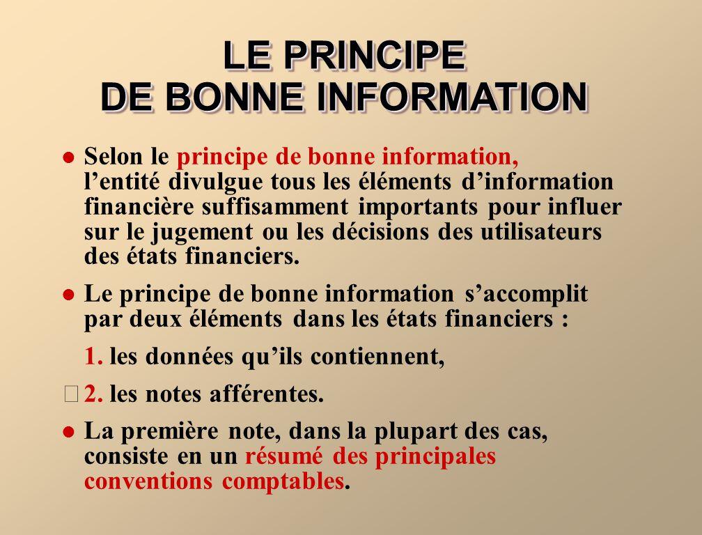 LE PRINCIPE DE BONNE INFORMATION