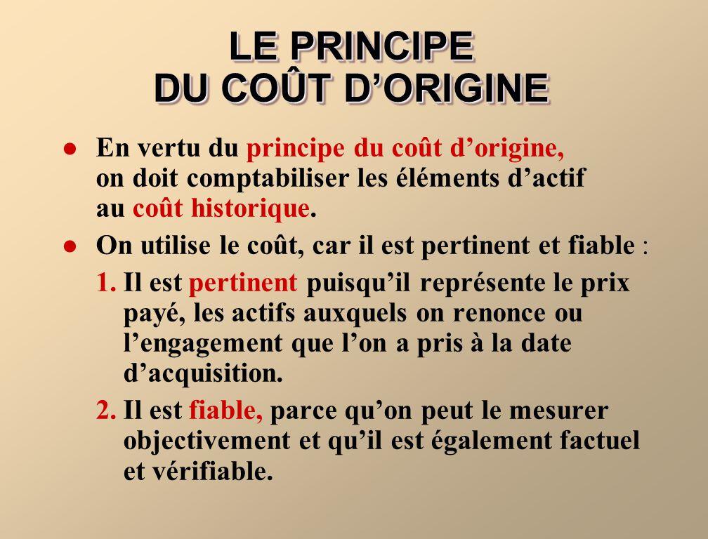 LE PRINCIPE DU COÛT D'ORIGINE
