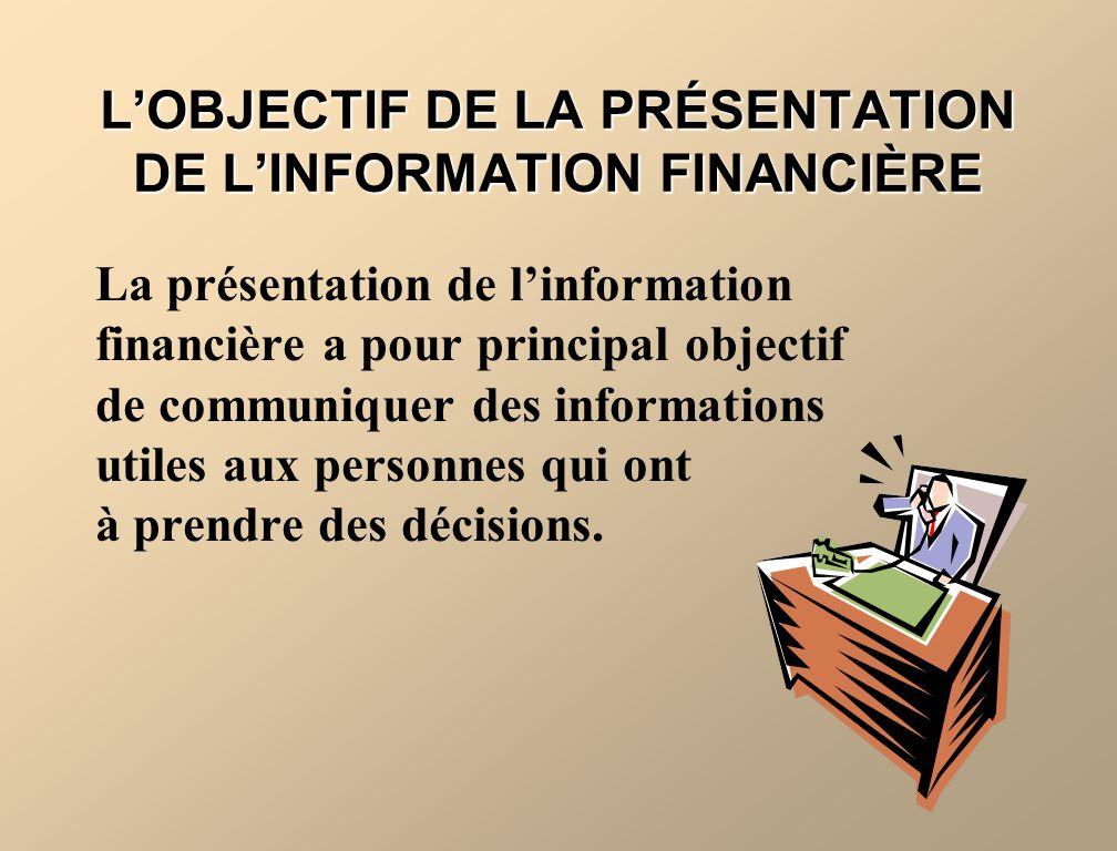 L'OBJECTIF DE LA PRÉSENTATION DE L'INFORMATION FINANCIÈRE