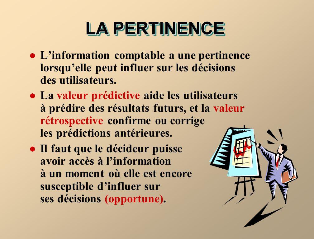 LA PERTINENCE L'information comptable a une pertinence lorsqu'elle peut influer sur les décisions des utilisateurs.