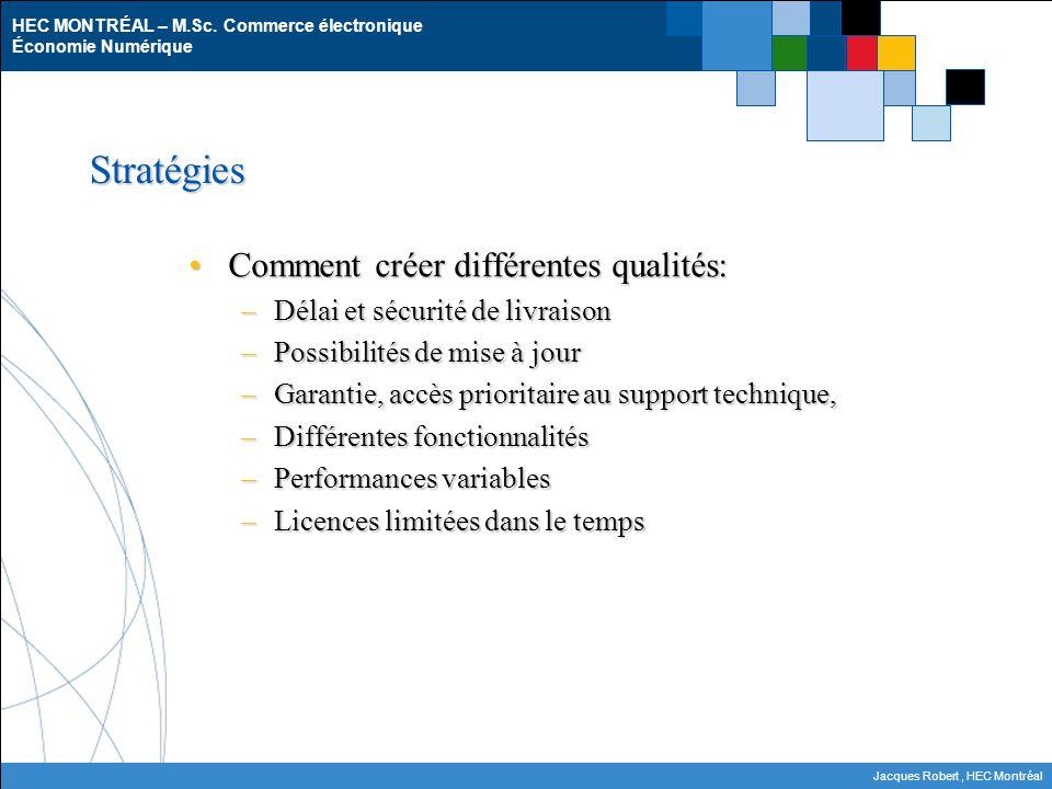 Stratégies Comment créer différentes qualités: