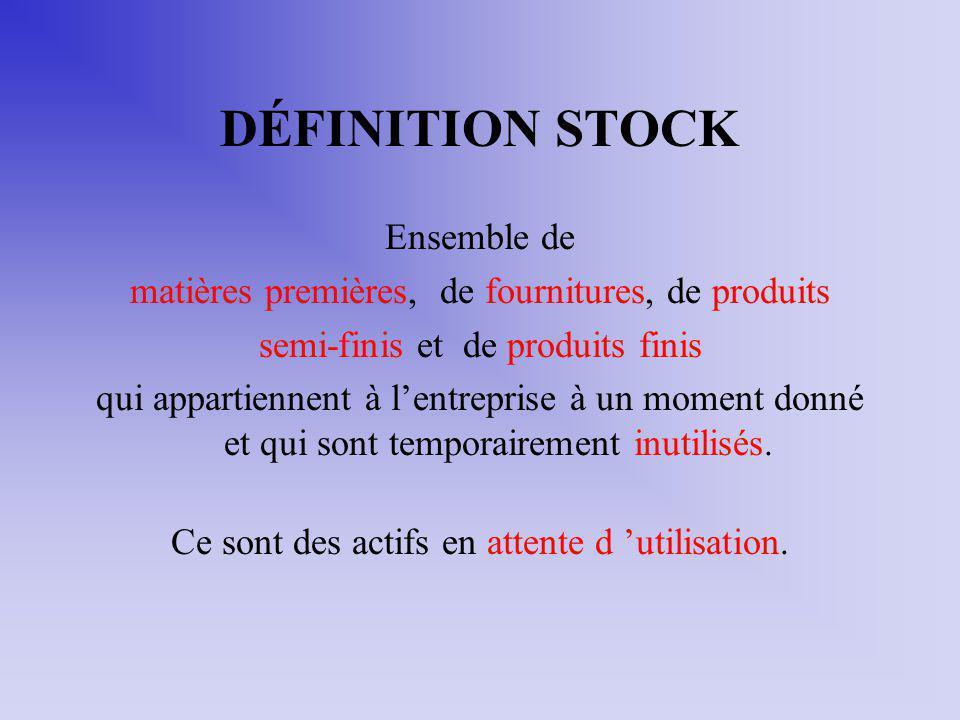 DÉFINITION STOCK Ensemble de