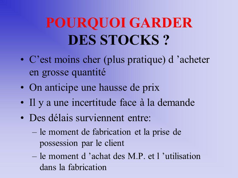 POURQUOI GARDER DES STOCKS