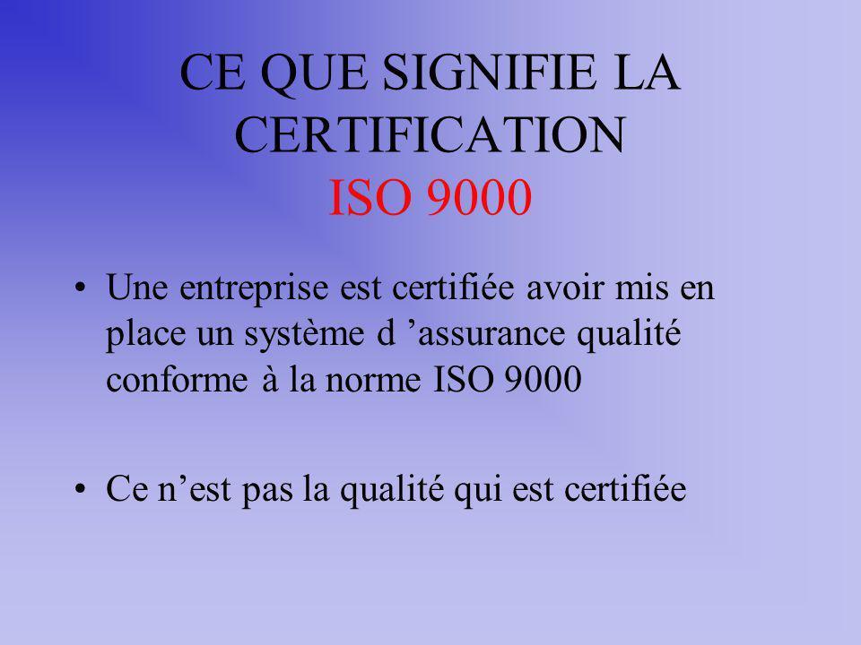 CE QUE SIGNIFIE LA CERTIFICATION ISO 9000