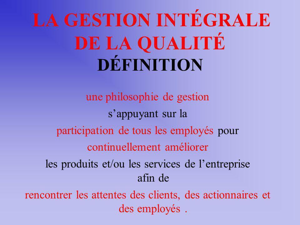 LA GESTION INTÉGRALE DE LA QUALITÉ DÉFINITION