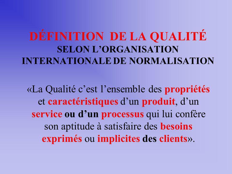 DÉFINITION DE LA QUALITÉ SELON L'ORGANISATION INTERNATIONALE DE NORMALISATION