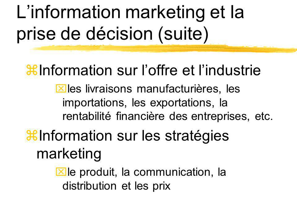 L'information marketing et la prise de décision (suite)