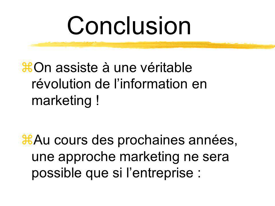 Conclusion On assiste à une véritable révolution de l'information en marketing !