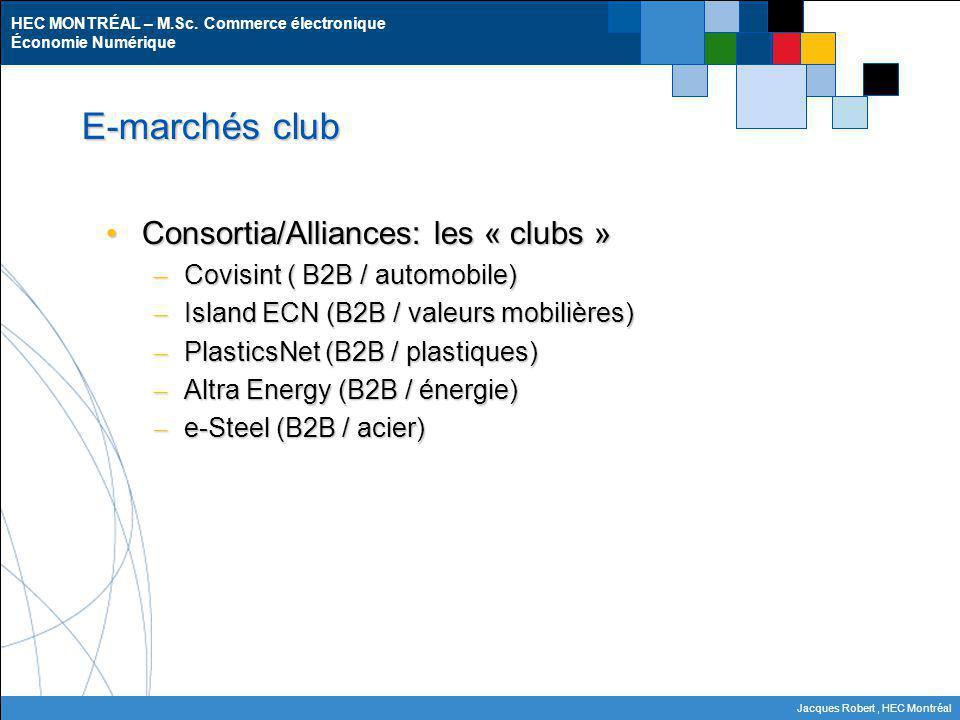 E-marchés club Consortia/Alliances: les « clubs »