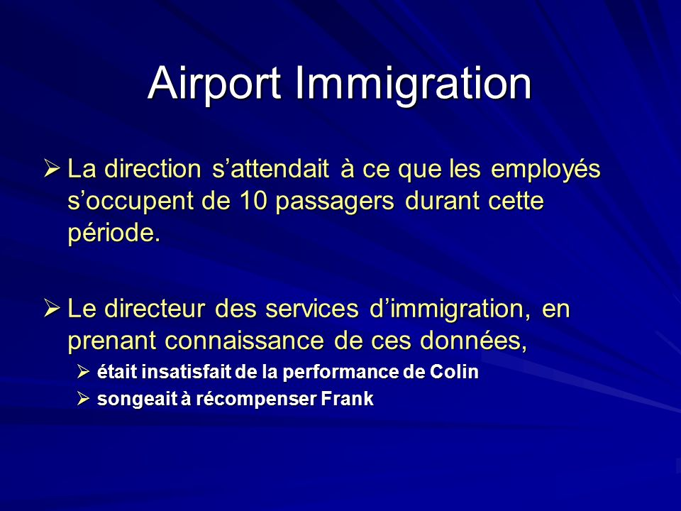 Airport Immigration La direction s'attendait à ce que les employés s'occupent de 10 passagers durant cette période.