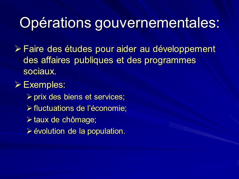 Opérations gouvernementales: