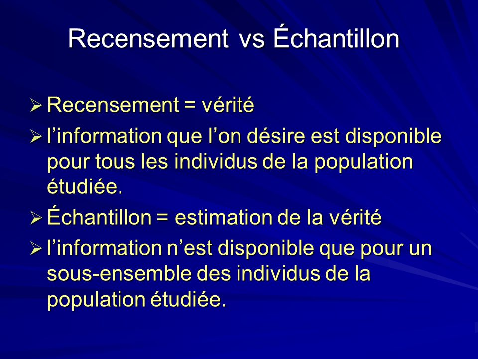 Recensement vs Échantillon