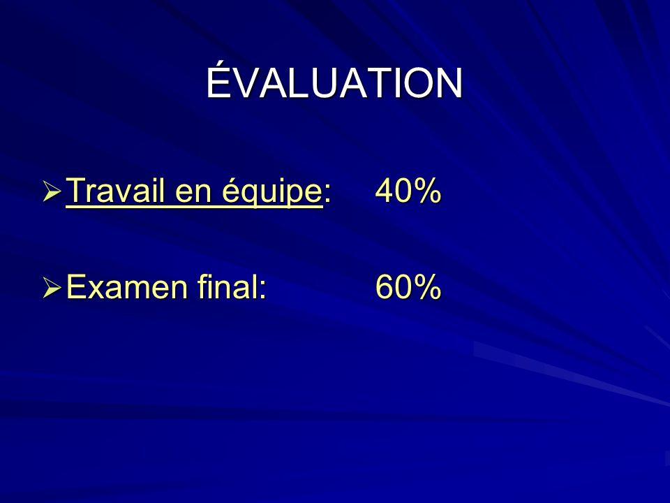 ÉVALUATION Travail en équipe: 40% Examen final: 60%