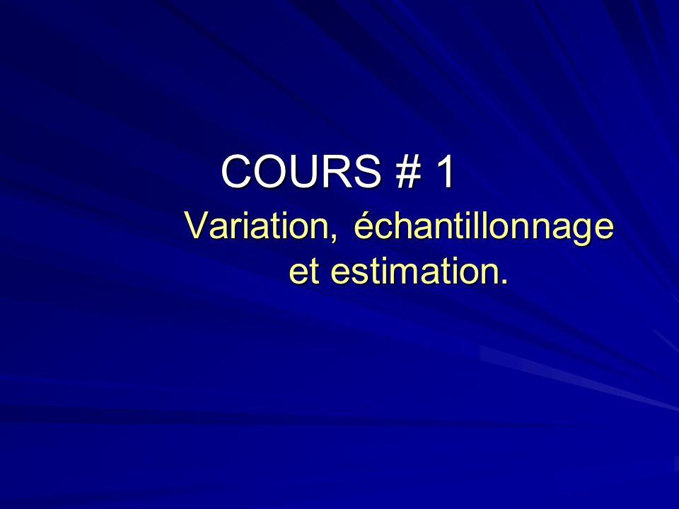 Variation, échantillonnage et estimation.