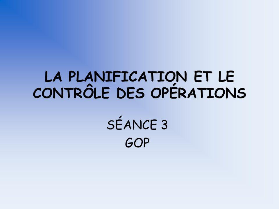 LA PLANIFICATION ET LE CONTRÔLE DES OPÉRATIONS