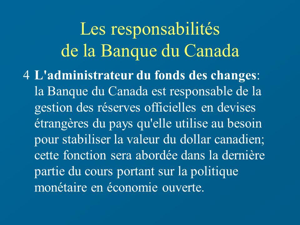 Les responsabilités de la Banque du Canada
