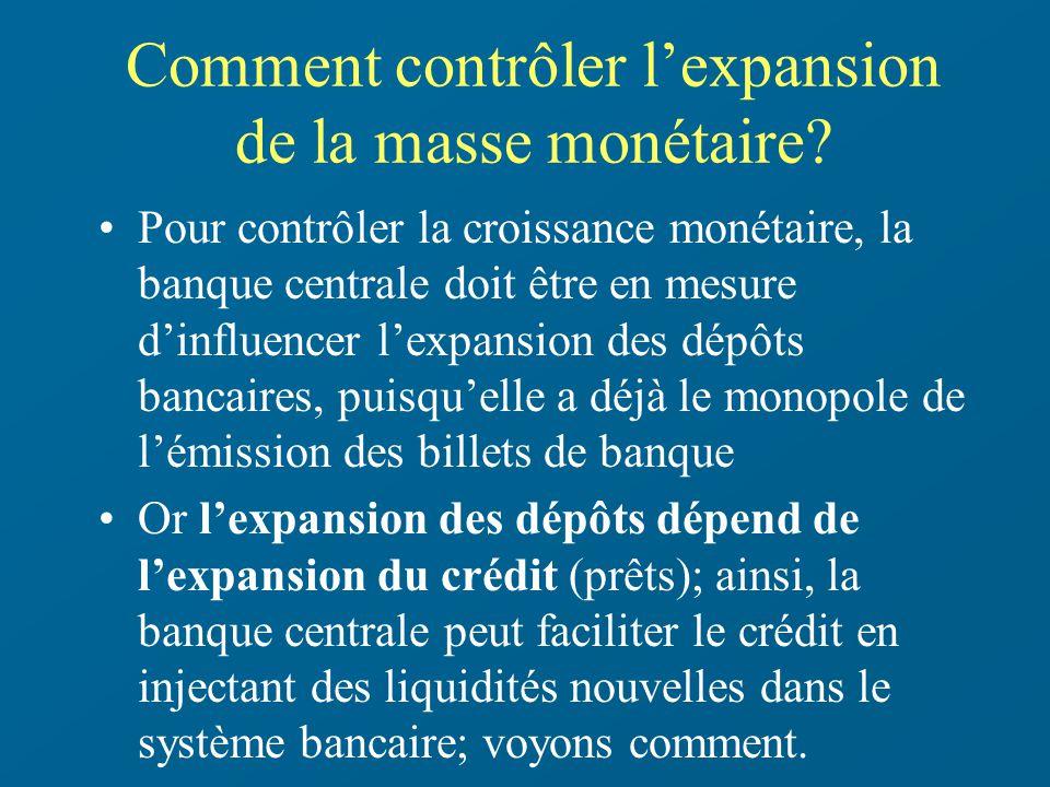 Comment contrôler l'expansion de la masse monétaire