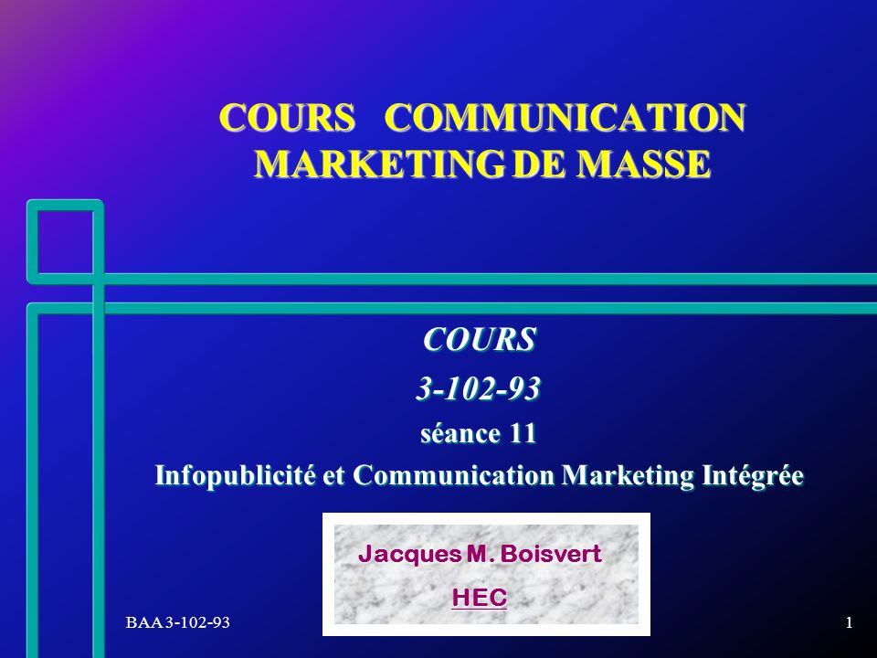 COURS COMMUNICATION MARKETING DE MASSE