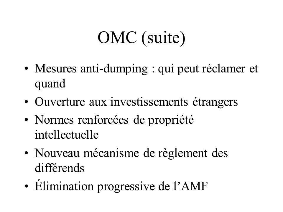 OMC (suite) Mesures anti-dumping : qui peut réclamer et quand