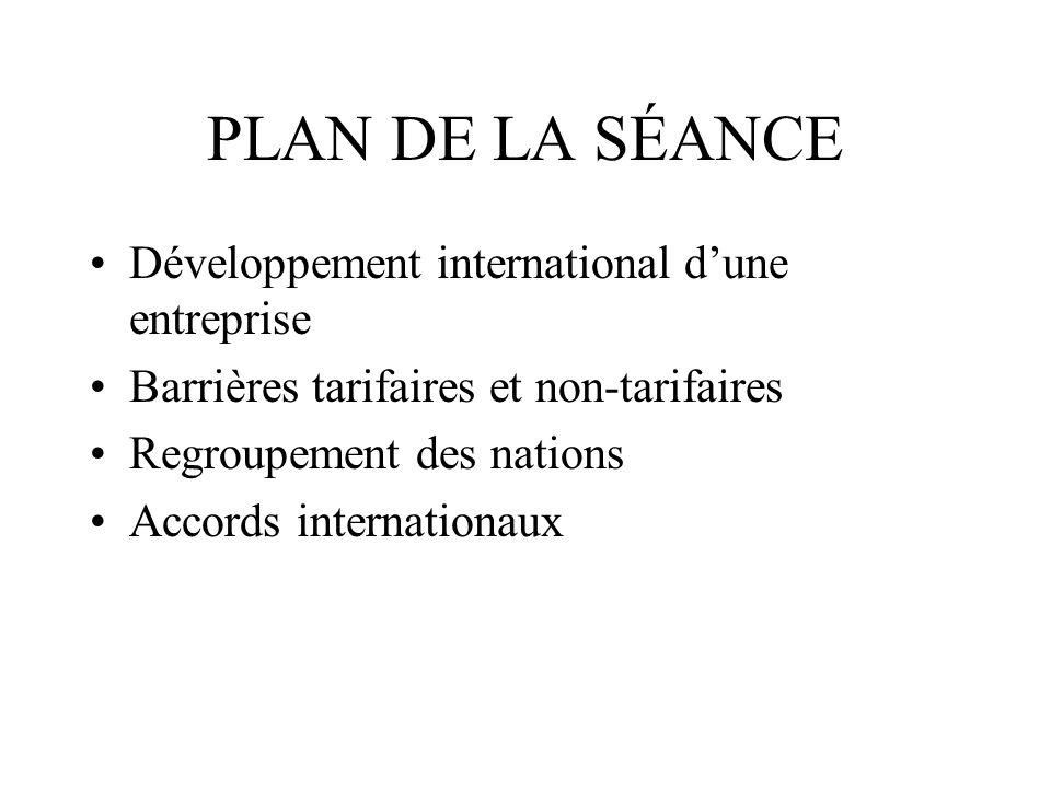 PLAN DE LA SÉANCE Développement international d'une entreprise