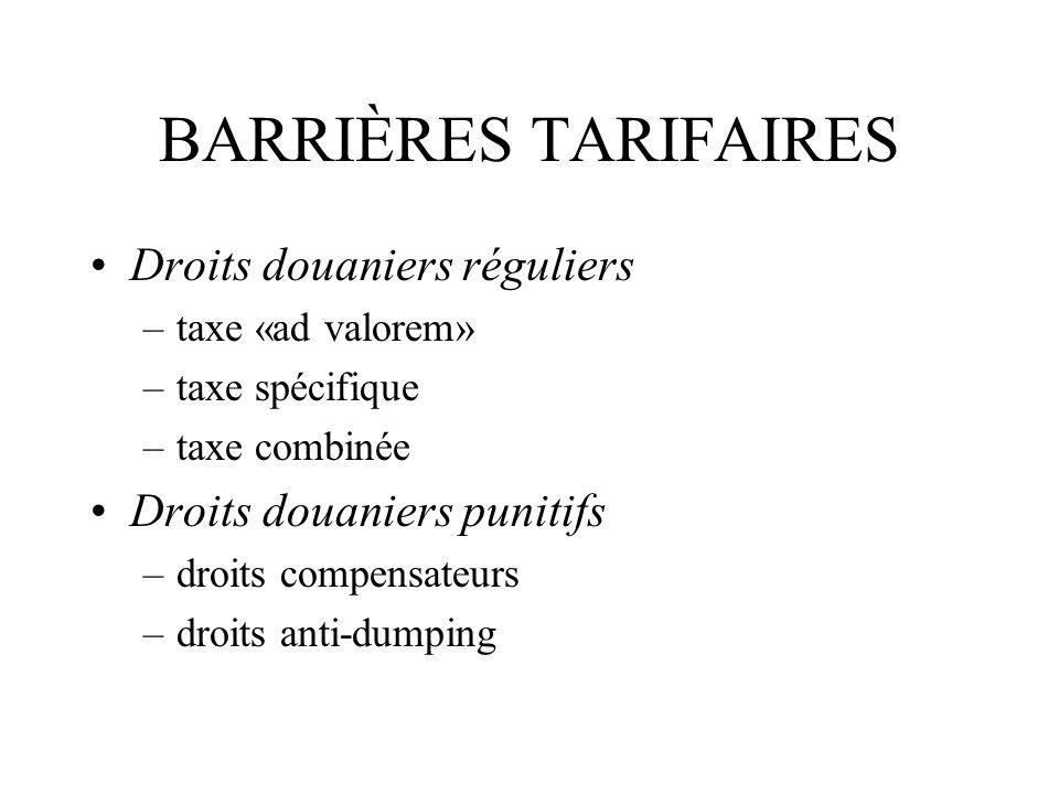 BARRIÈRES TARIFAIRES Droits douaniers réguliers
