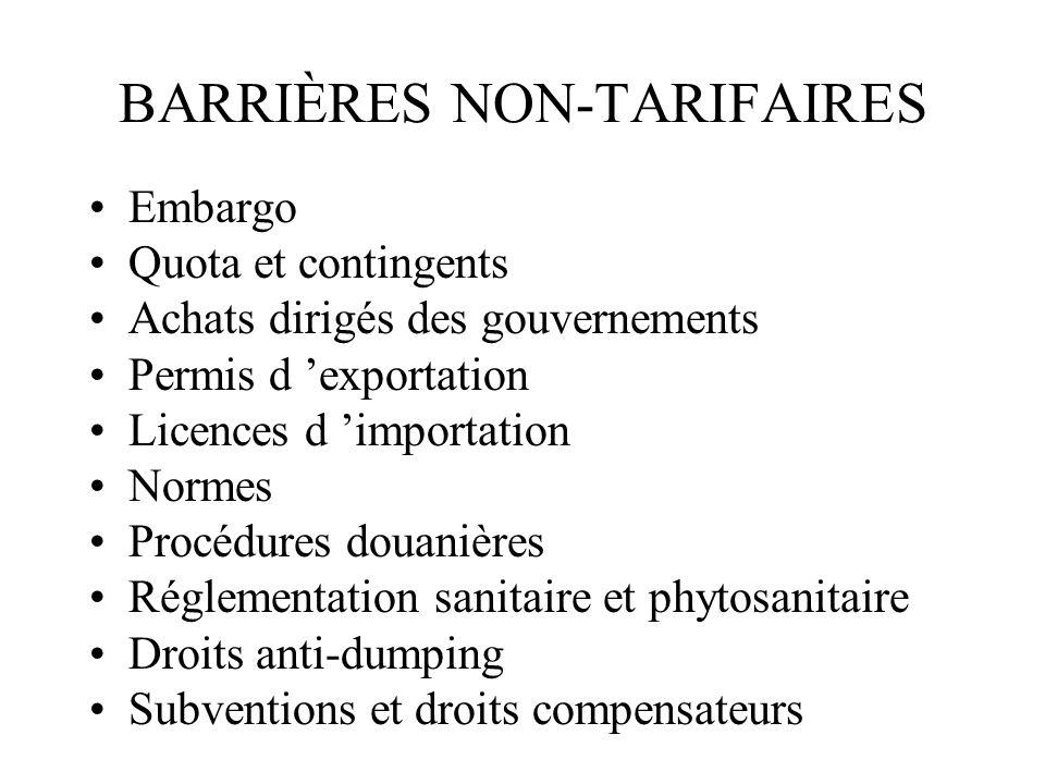 BARRIÈRES NON-TARIFAIRES