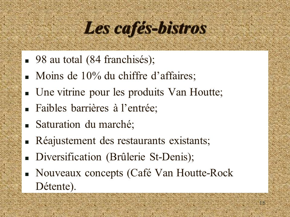 Les cafés-bistros 98 au total (84 franchisés);