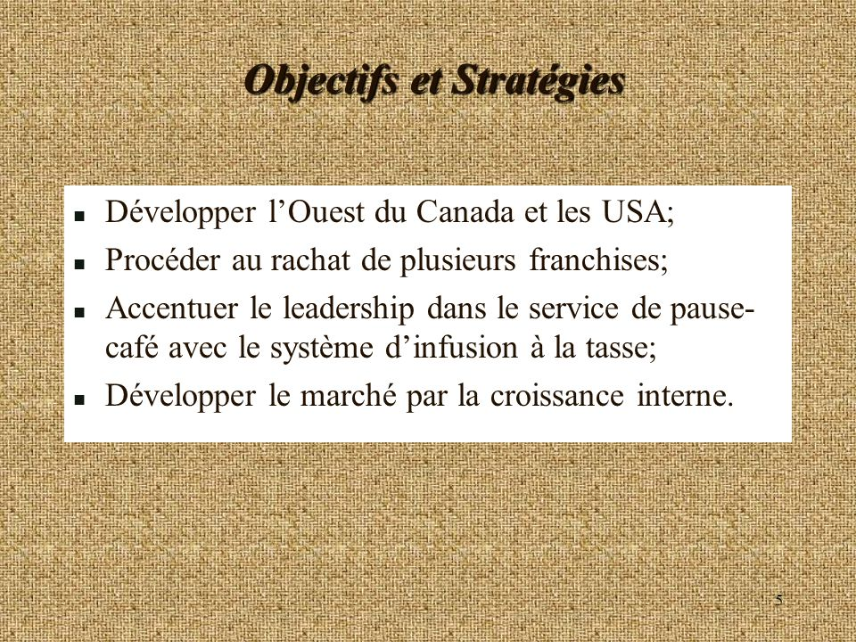 Objectifs et Stratégies
