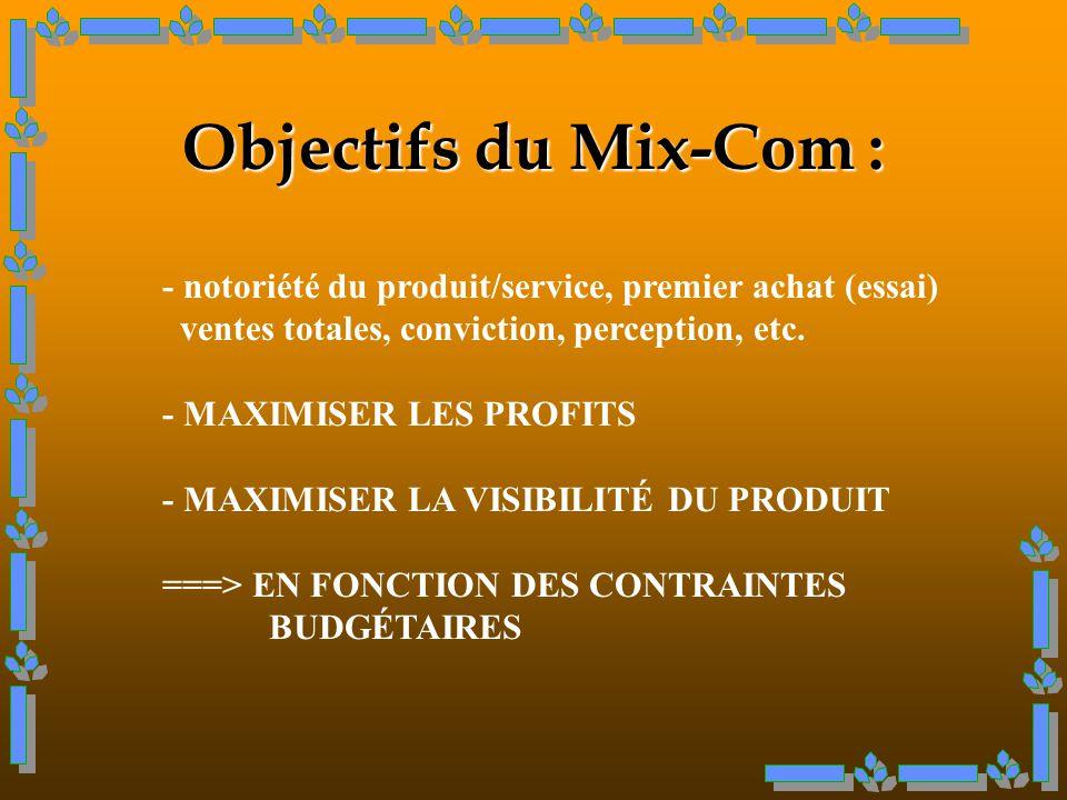 Objectifs du Mix-Com : - notoriété du produit/service, premier achat (essai) ventes totales, conviction, perception, etc.