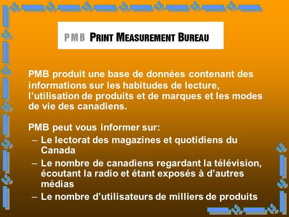 PMB produit une base de données contenant des informations sur les habitudes de lecture, l'utilisation de produits et de marques et les modes de vie des canadiens.