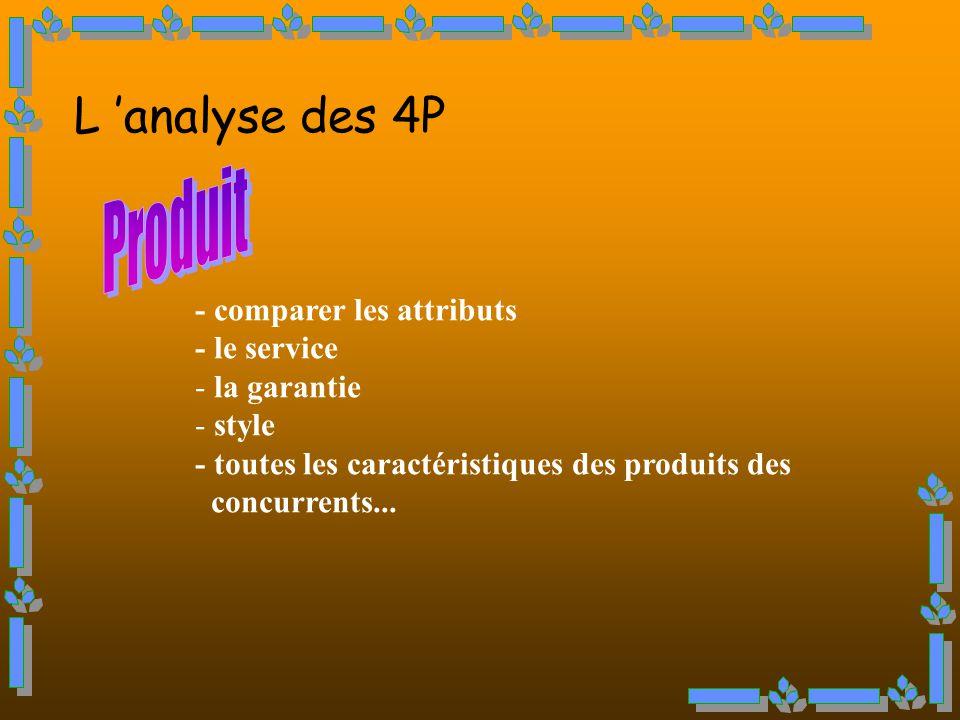 L 'analyse des 4P Produit - comparer les attributs - le service