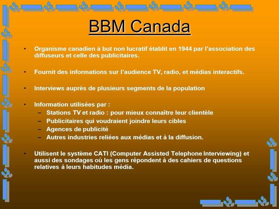 BBM Canada Organisme canadien à but non lucratif établit en 1944 par l'association des diffuseurs et celle des publicitaires.