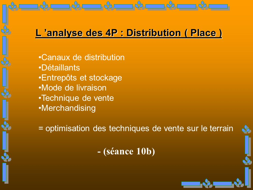 L 'analyse des 4P : Distribution ( Place )