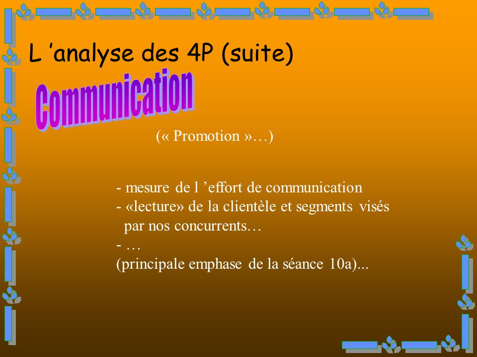 L 'analyse des 4P (suite) Communication