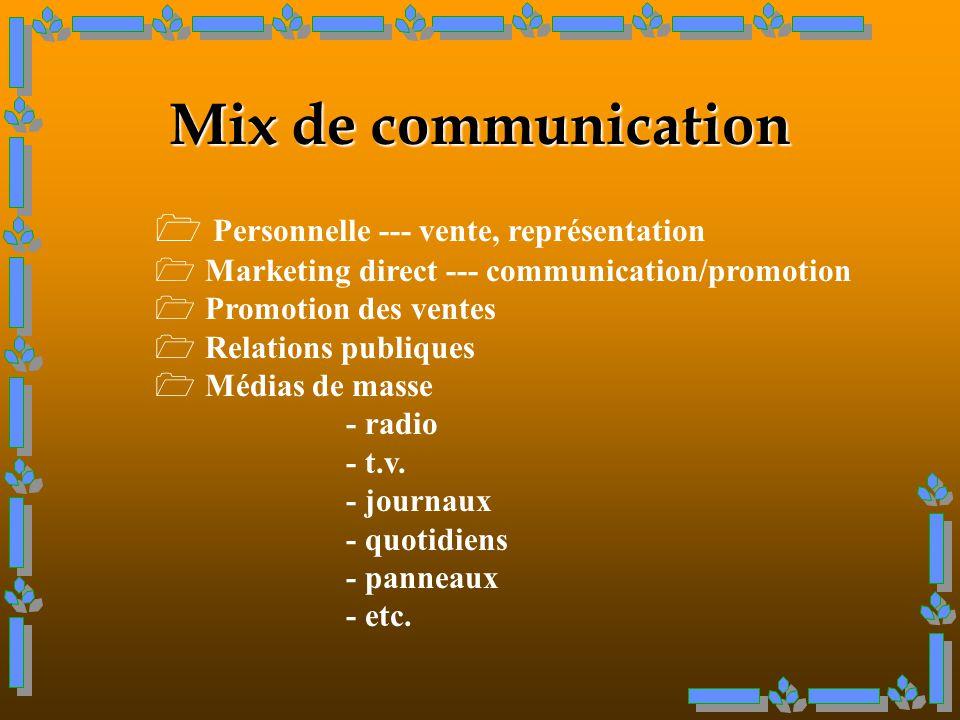 Mix de communication Personnelle --- vente, représentation