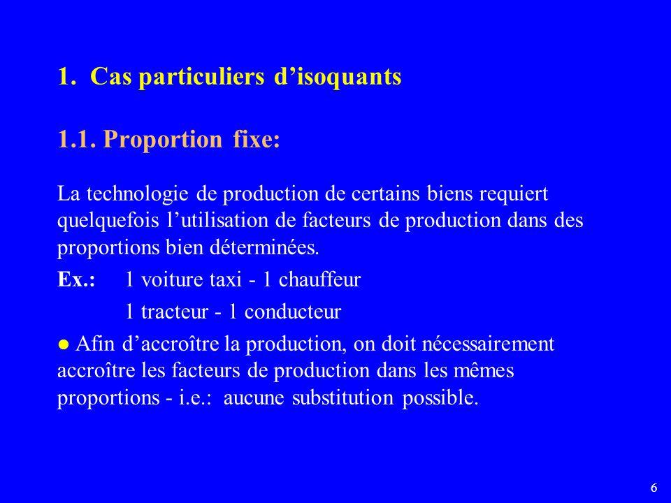 1. Cas particuliers d'isoquants 1.1. Proportion fixe: