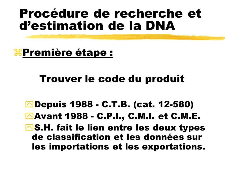Procédure de recherche et d'estimation de la DNA