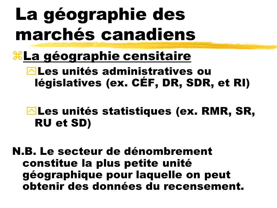 La géographie des marchés canadiens