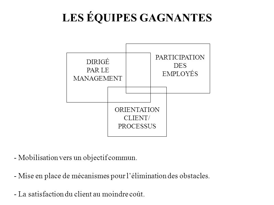 LES ÉQUIPES GAGNANTES - Mobilisation vers un objectif commun.